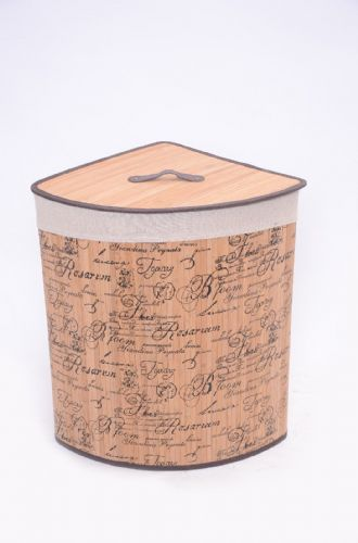 NATURAL  FLEUR DE PARIS BAMBOO LAUNDRY BASKET WASHING CLOTHES FOLDABLE STORAGE BIN - CORNER